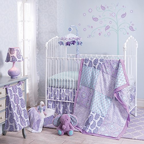 Lambs & Ivy Happi by Dena Olivia 5-Piece Crib Bedding Set (Aqua And Purple Crib Bedding)