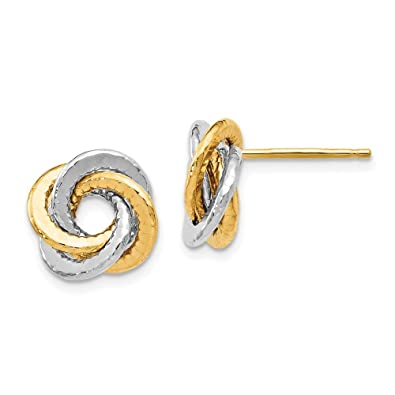 2f976a612 Image Unavailable. Image not available for. Color: Jewelry Themed Earrings  Leslie's 14k Two-tone Polished Textured Love Knot Earrings