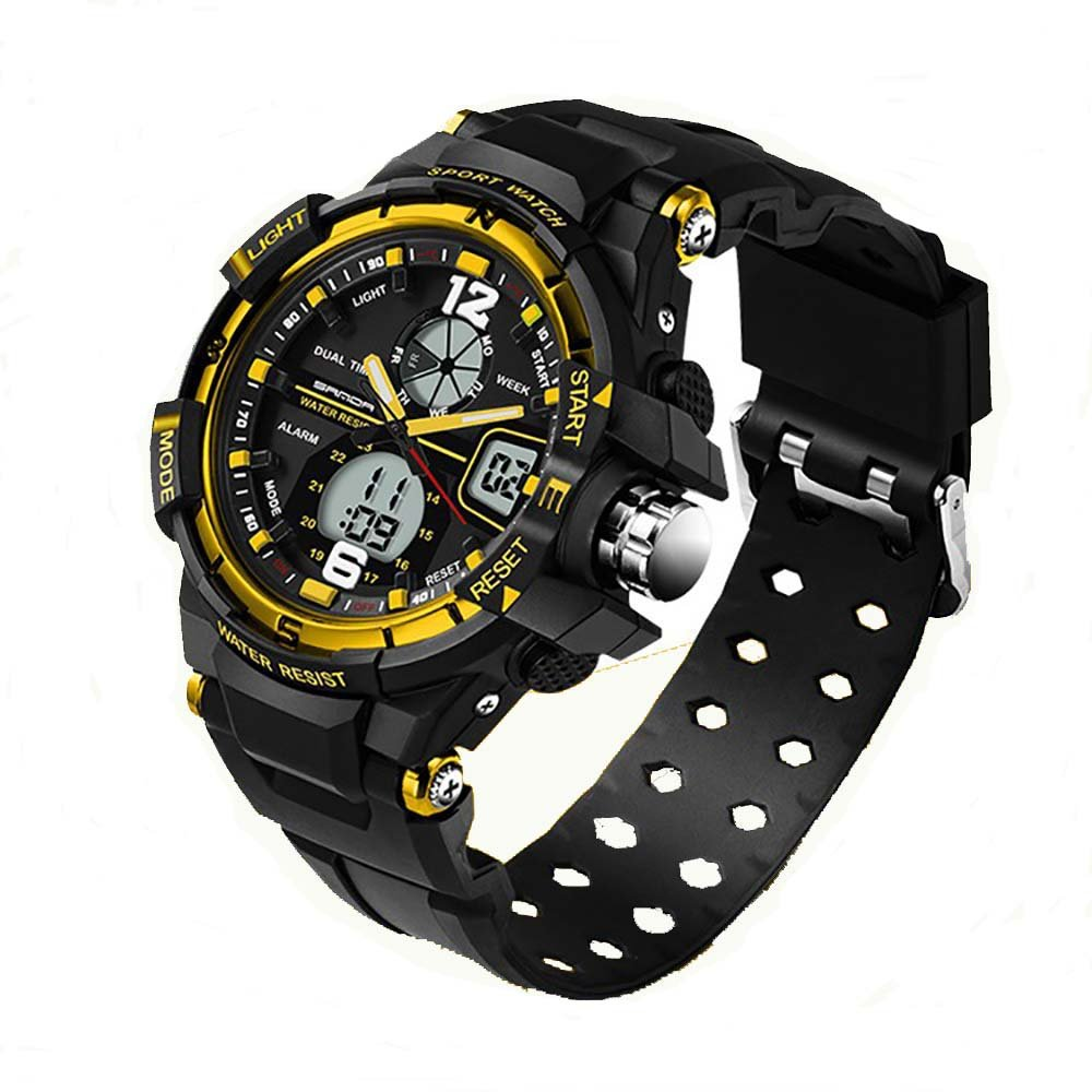 3134d7b0bae Amazon.com  SANDA Waterproof Dual Display LED Sports Military Watches Men s  Analog Quartz Digital Watch (Gold)  Health   Personal Care