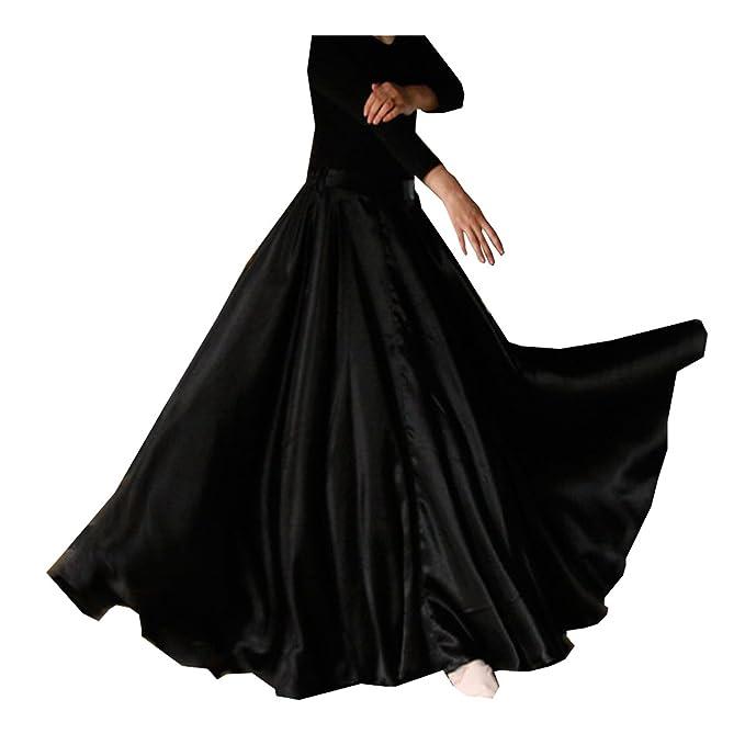 6464f38808 Womens Elegant Ballroom Long Latin Belly Dance Full Circle Dance Skirt ( Black)