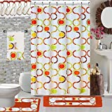 18 Piece High Quality Geometric Designs Banded Shower Curtain Bath Set,1,Bath Rug,1 Contour Rug 1, shower curtain 12 Metal Crystal Roller Ball Shower Hooks 3 Pcs Matching towel set (Regatta)