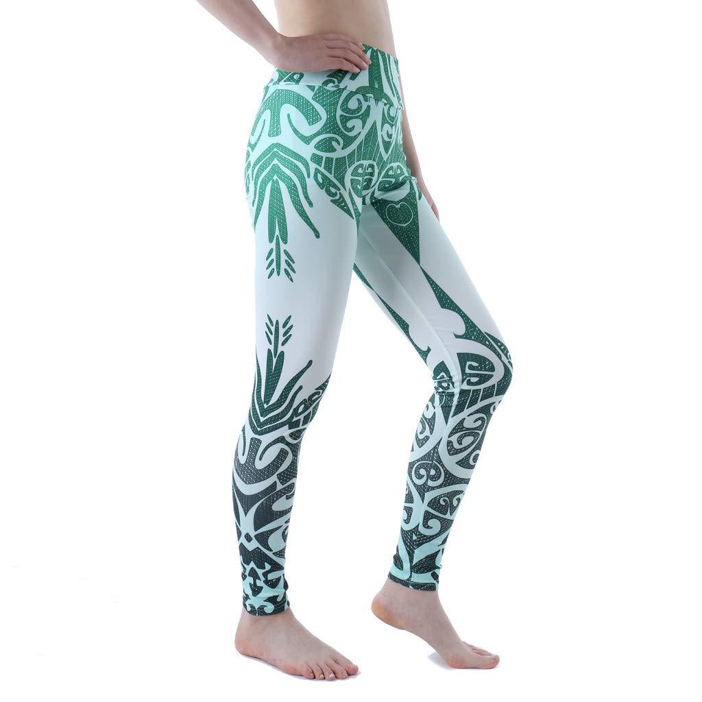 SMILEQ Pantalones de Yoga para Mujer Impresión Deportiva ...
