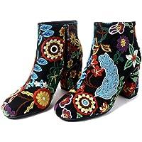 Con botas estilo folklórico con flores bordadas gruesas redondas con áspero con botas