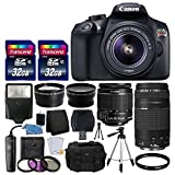 Canon EOS Rebel T6 Digital SLR Camera + Canon 18-55mm EF-S f 3.5-5.6 IS II Lens & EF 75-300mm f 4-5.6 III Lens + Wide Angle Lens + 58mm 2x Lens + Slave Flash + 64GB Card + Wired Remote + Valued Bundle