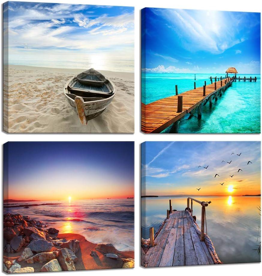 アートパネル モダン 現代 夕日の光 壁の絵 海の景色 ビーチ 写真 壁掛け ソファの背景絵画 HD しゃしん 4パネルセット(木枠付きの完成品) (30x30cm*4pcs, 海)