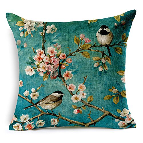 Bed Painted Set Hand (Kipten Cotton Linen Hand Painted Oil Oainting Bird Pattern Sofa Pillow Car Cushions Sets Home Decoration Pillow Protective Cover 18