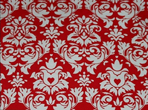 [Knit Damask Red Design Fabric By the Yard, 95% Cotton, 5% Lycra, 60 Inches Wide, Excellent Quality, Medium weight, 4 way stretch (4] (Vintage Paisley Print Costumes)