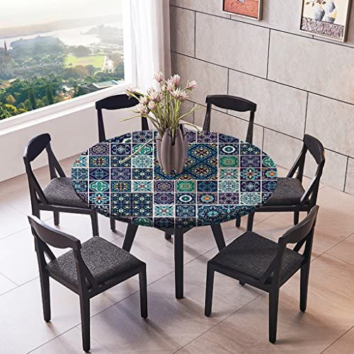 Table Cover Tablecloths with Elastic Band for Round//Oblong//Oval Tables