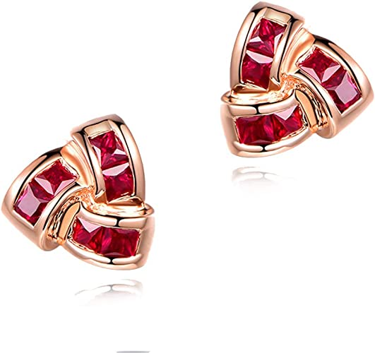 14K WHITE GOLD 1.25CT OVAL GENUINE RUBY AND DIAMOND STUD EARRINGS