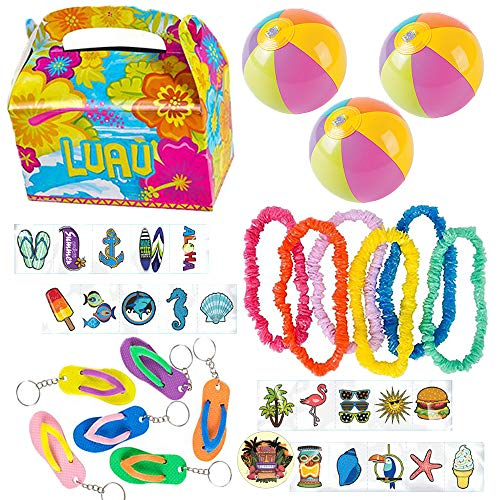 150 Piece Summer Lovin Summer Fun Tropical Beach Party Favor Pack Includes Luau Treat Boxes, Summer Tattoos, Assorted Leis, Flip Flop Keychains, and Mini Inflatable Beach Balls ()