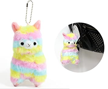 e7771955fd Amazon.com  Alpacasso 5   Rainbow Plush Alpaca Keychain Charm for ...