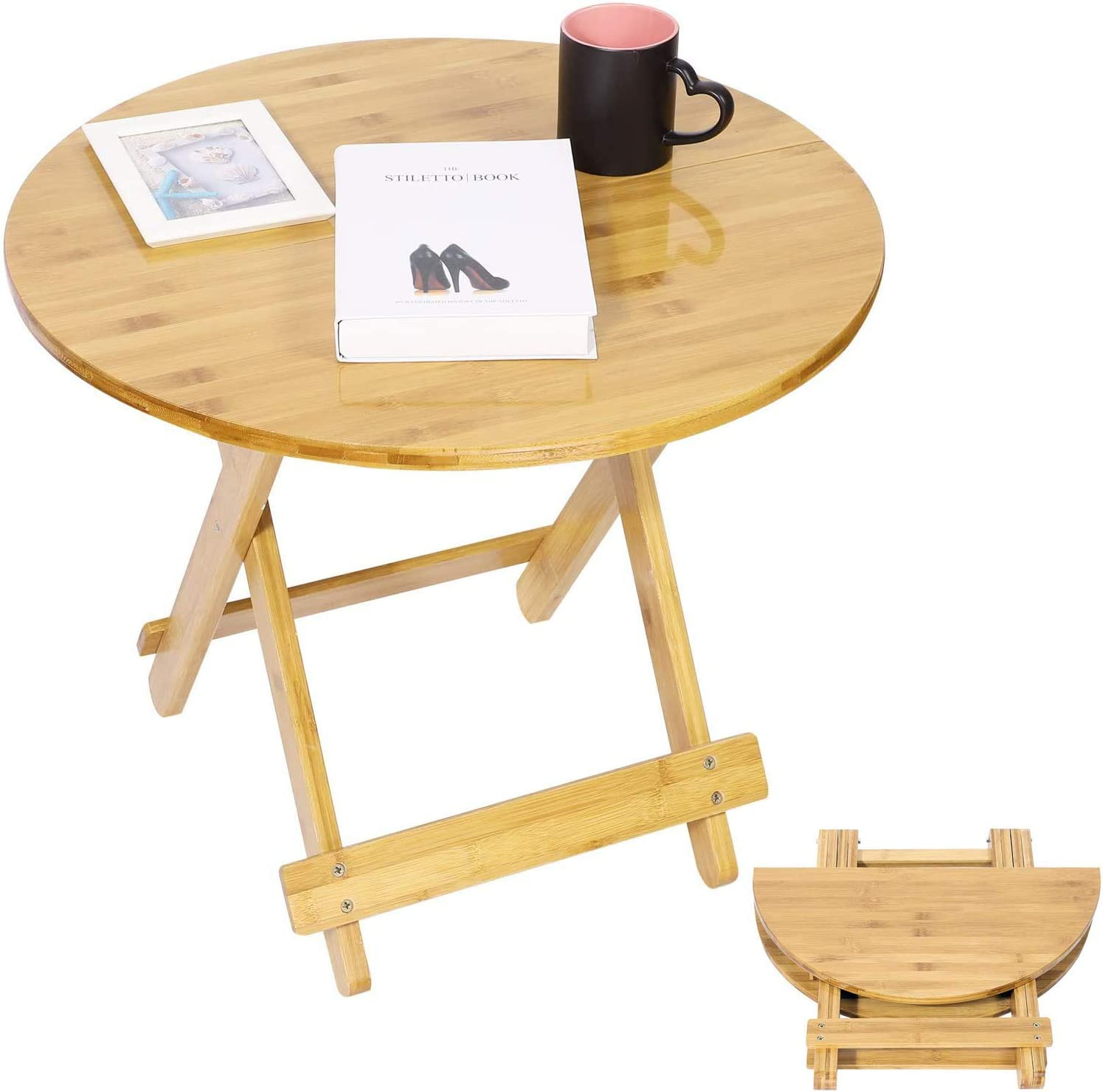 Round Wooden Folding Dining Table Portable Foldable Indoor Home Party BBQ Camping Gaming Table for Beach Outdoor Picnic Patio Garden Cooking