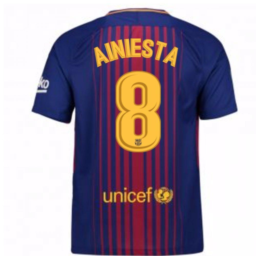 2017-2018 Barcelona Home Football Soccer T-Shirt Trikot (Andres Iniesta 8)