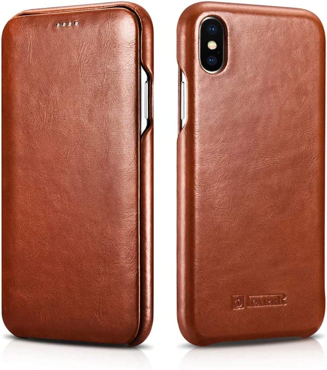 icarercase Compatible 2018 Nuevo iPhone XS MAX, iPhone 6.5 Pulgadas Case, Serie ICARER Classic, Fundas de Cuero de Vaca para Apple iPhone XS MAX, Funda de Piel iPhone XS MAX, Marrón: Amazon.es: