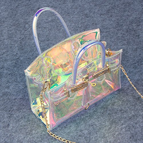 Handbag Shoulder Women's Hologram Bagood Transparent Purse Tote Waterproof Crossbody PVC Bag Bag Laser Fqx6xv8w
