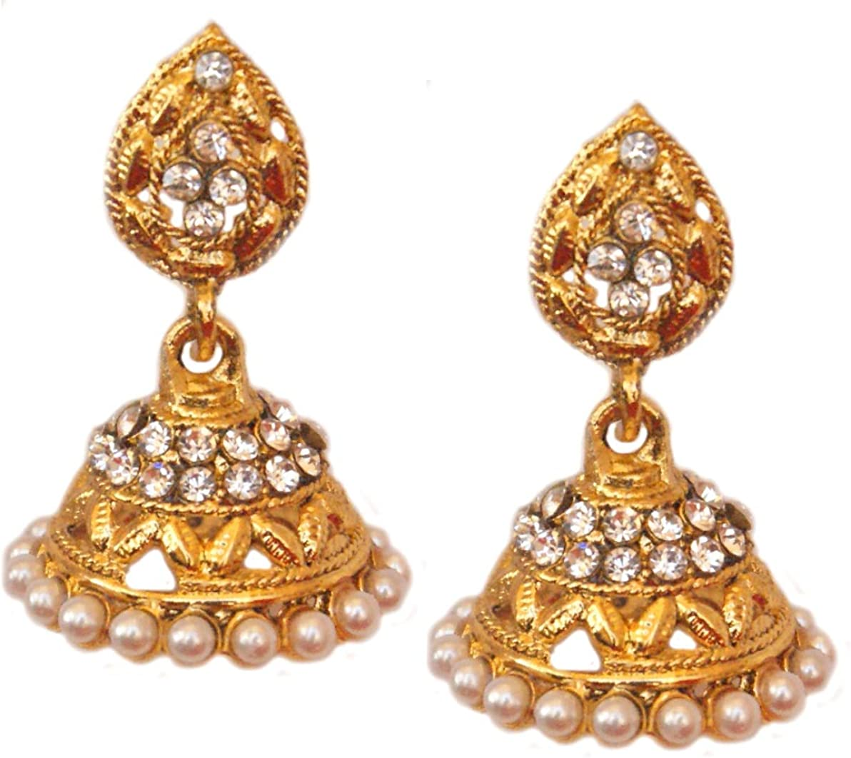 Fantaisie Ensemble de bijoux de mari/ée pour les femmes Pahal Traditionnel Blanc Perle Sud Indien Jhumka Jhumki Plaqu/é Or Boucles doreilles