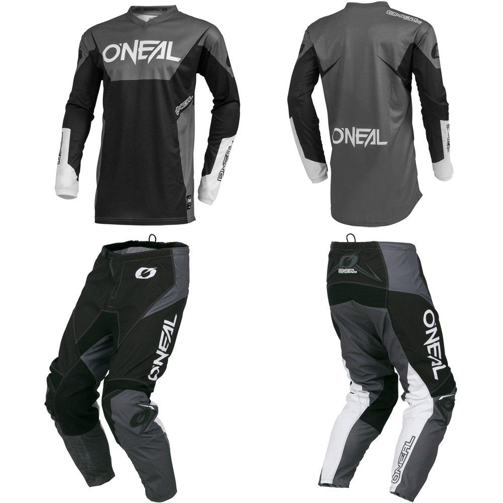 O'Neal Element Racewear Black/Gray Adult motocross MX off-road dirt bike Jersey Pants combo riding gear set (Pants W42/Jersey XX-Large) O' Neal