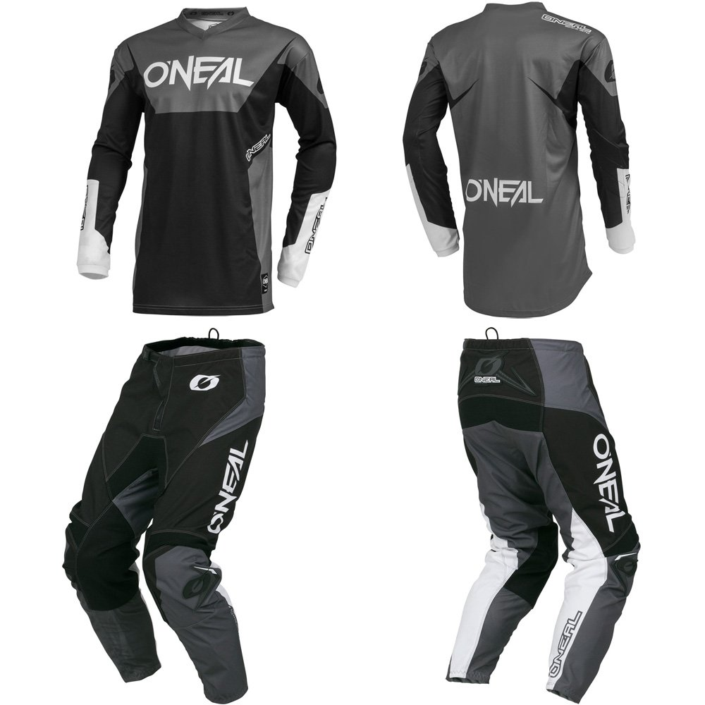 O'Neal Element Racewear Black/Gray Adult motocross MX off-road dirt bike Jersey Pants combo riding gear set (Pants W30/Jersey Small)