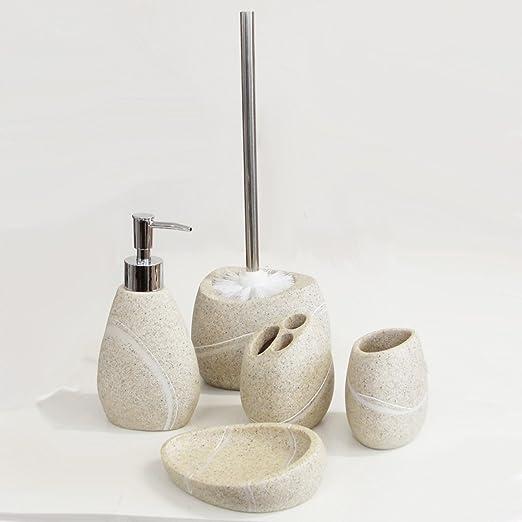 Beiges Badset Seifenspender Becher WC-Bürste Seifenschale Zahnbürstenhalter