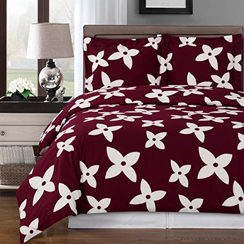 Luxury 3pc - Desiree Burgundy- Full/Queen Duvet cover set 100% Cotton 300 thread count fiber reactive prints duvet set By sheetsnthings