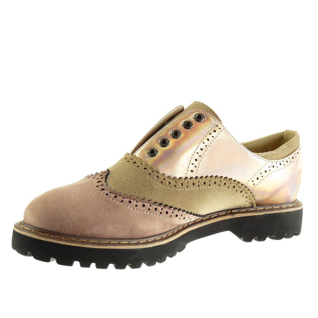 Angkorly - Chaussure Mode Derbies bi-matière femme perforée finition surpiqûres coutures verni Talon bloc 3 CM - Rose - FD307 T 41 0ymJFQF