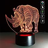 TRADE 3D Visual Multicolor Gradient Acrylic Animal Rhino LED Touch USB Dual Purpose Base Bedside Illumination Night Light