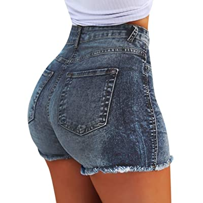 Women's Juniors Summer Denim Shorts High Waisted Elastic Fray Hem Body Enhancing Distressed Jeans Pants Plus Size (XXXL, Blue): Clothing