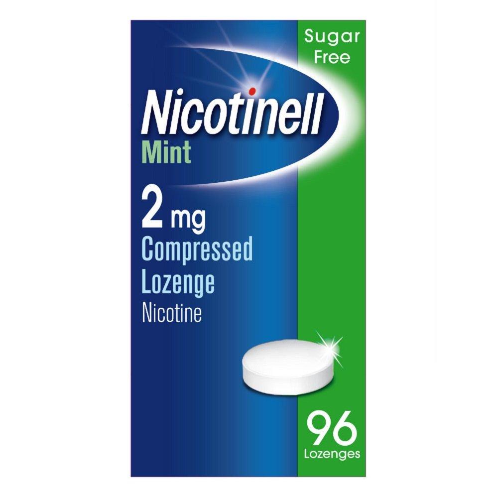 Nicotinell Nicotine Lozenge, Quit Smoking Aid, Sugar Free Mint Flavour, 2 mg, 96 Pieces