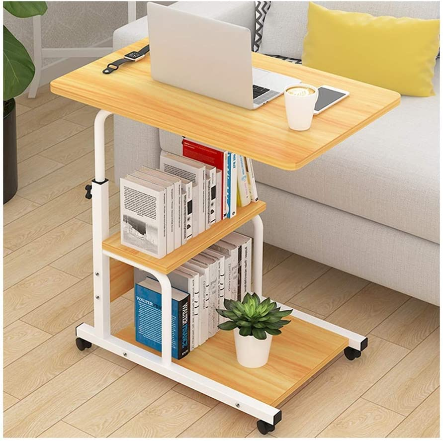 Adjustable Laptop Table Laptop Stand Bedside Table Portable Sofa Bed Table Portable Above Bed for Sofa Bed (Color: Walnut Size: Three-Layer Panel)