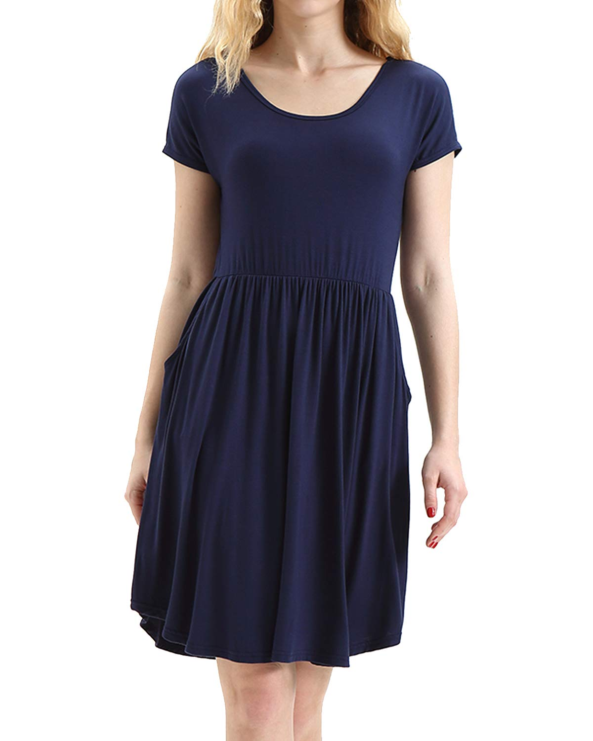 HUALAIMEI Dress Shirts for Women Business Casual, Ladies Scoop Neck Short Sleeve Midi Dresses Knee Length Comfy Long Tunic with Pockets Navy Blue L