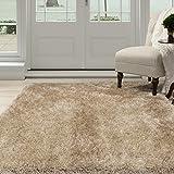 Lavish Home 62-NAT5377 Shag Area Rug, Natural, 5'3' x 7'7'