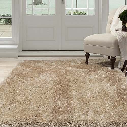 Lavish Home 62-NAT5377 Lavish Home Shag Area Rug, Natural, 5'3