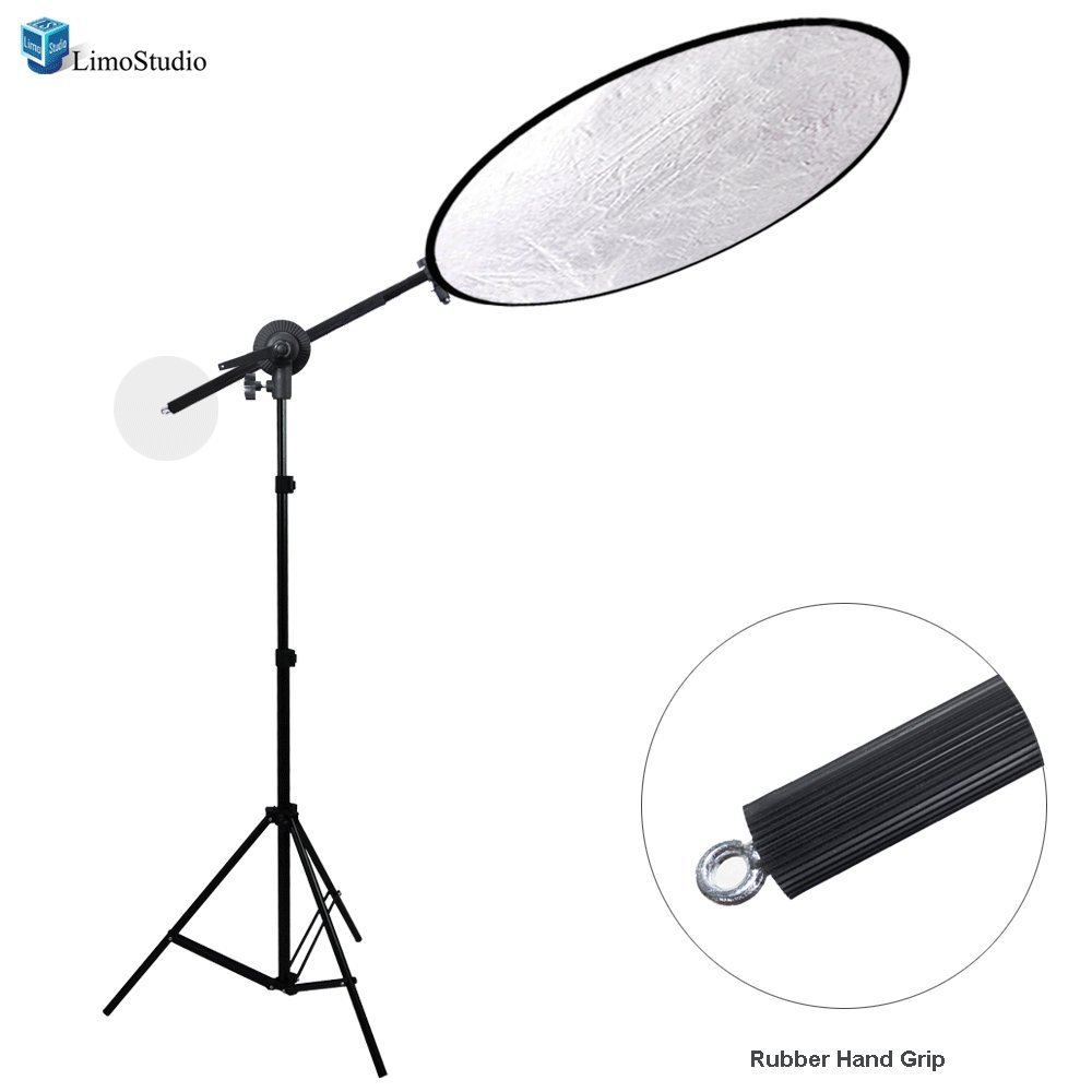 LimoStudio 43'' Lighting Reflector Diffuser with Rubber Hand Grip Extendable Reflector Holder Boom Arm Support Lighting Boom Stand, AGG1787