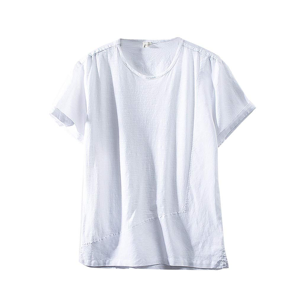 Jumaocio Mens Cotton Linen Henley Solid Color Short Sleeve Casual Shirt