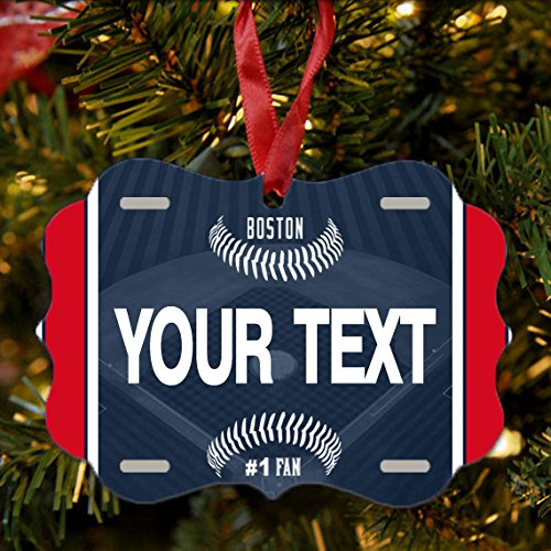 (BRGiftShop Personalize Your Own Baseball Team Boston Christmas Tree Ornament)