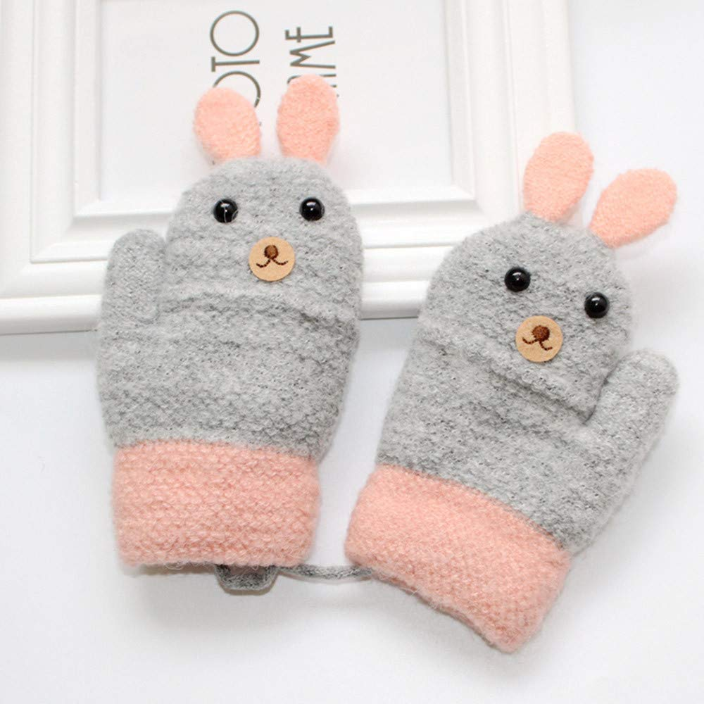 Kids Thicken Rope Full Finger Warm Knitted Gloves Hongxin Cartoon Rabbit Baby Gloves