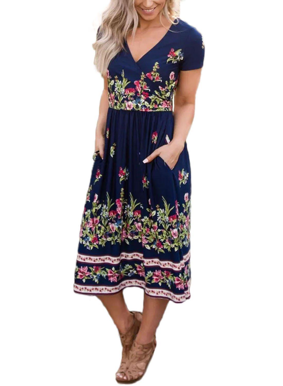 CANIKAT Women's Summer Boho Floral Print V Neck Short Sleeve Cotton Swing Midi Dress Sundresses M Blue