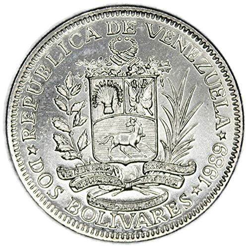 Coin 1989 VE Republica de Venezuela 2 Bolivares 1989 circulated Details Bolivar