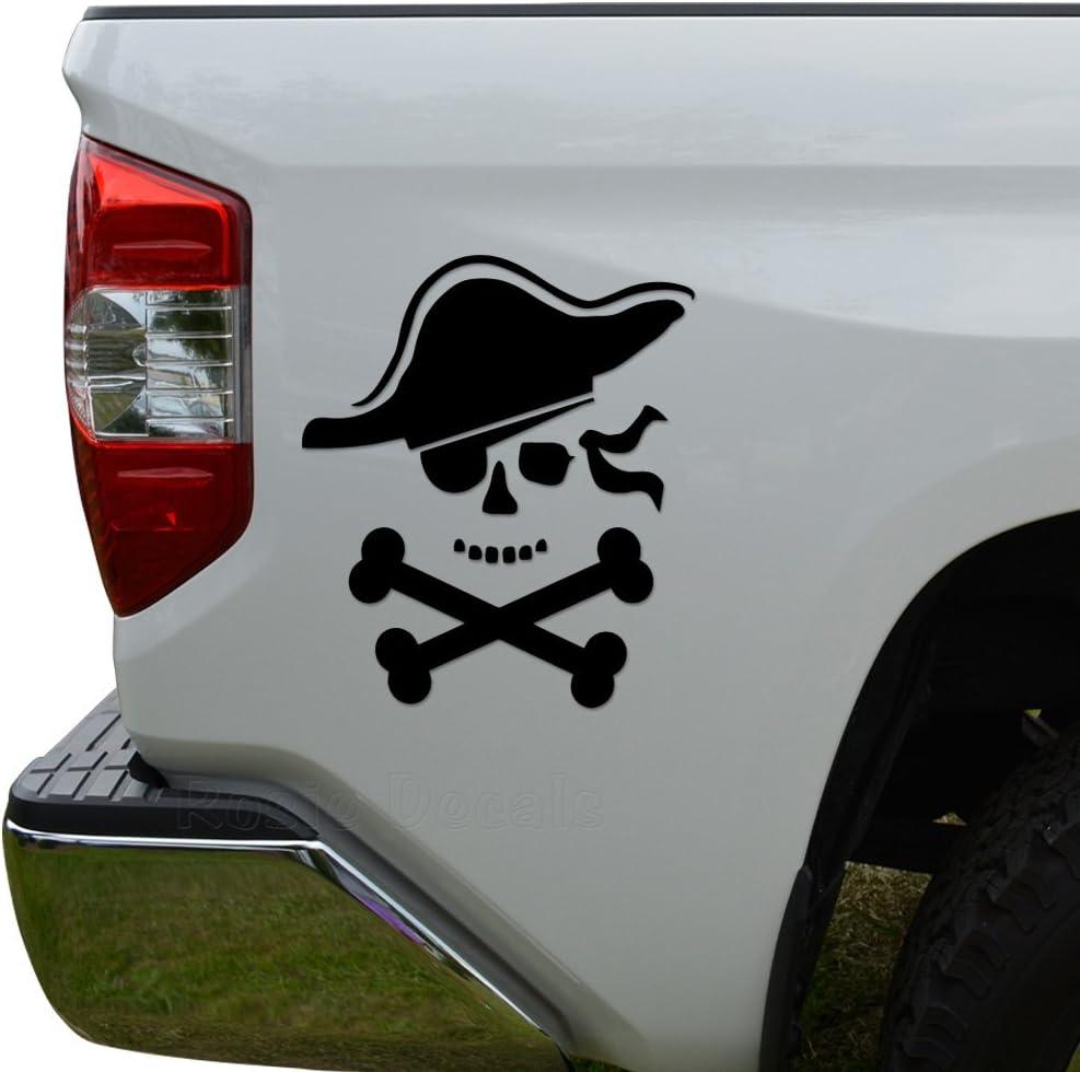 Death Skull Crossbones Pirate Die Cut Vinyl Decal Sticker For Car Truck Motorcycle Window Bumper Wall Decor Size- [6 inch/15 cm] Tall/Color- Matte Black