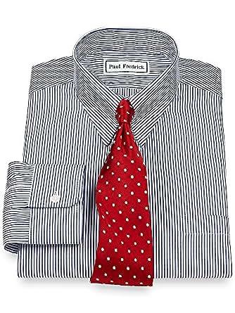 Paul fredrick men 39 s pinpoint snap tab collar button cuff for Mens tab collar dress shirts
