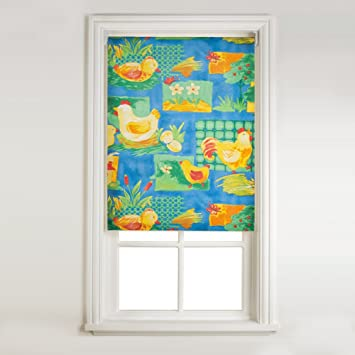 Sunflex Farm Animal Design Kitchen Roller Blind 90cm Wide X 160cm Drop, Blue Part 75