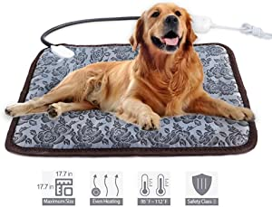 Pet Heating Pad Waterproof Adjustable Anti-Bite Steel Cord Dog Warm Bed Mat Heated Suitable for Pets Deds, Pets Blankets and Kennel