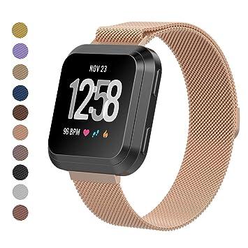 Correa de repuesto para reloj inteligente Fitbit Versa, pulsera magnética Milanese Loop, correa de