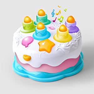 Gizmovine Baby Musical Toys Kids Birthday Cake Gift Toy for Toddlers with Counting Candles & Music, Infat Toys for 1 2 3 4 Years Old Boys and Girls
