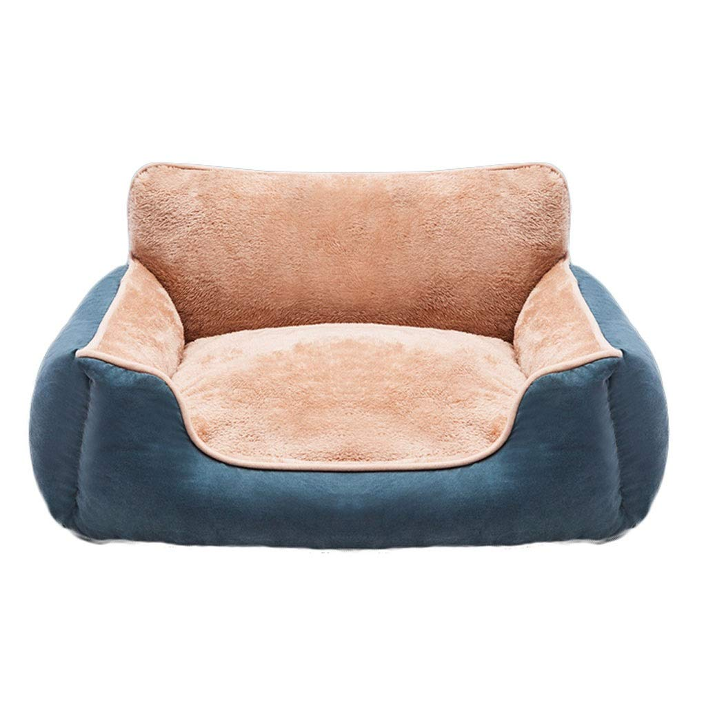 bluee 55×50×20cm bluee 55×50×20cm A++ Deerskin Square Pet Nest, Household Medium Large Cat Dog Bed, Outdoor Removable and Washable Non-Slip Pet Back Cushion, Four Seasons Universal (color   bluee, Size   55×50×20cm)