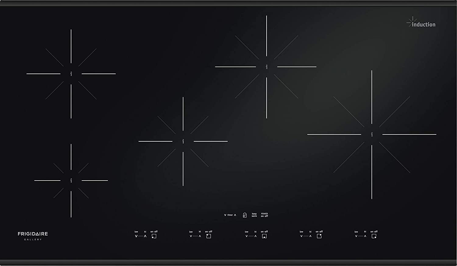 """Frigidaire Gallery 36 inch Induction Cooktop 5 Burners FGIC3667MB 36-3/4"""" W x 21-1/2"""" D x 4-3/8"""" H: Amazon.ca: Home & Kitchen"""