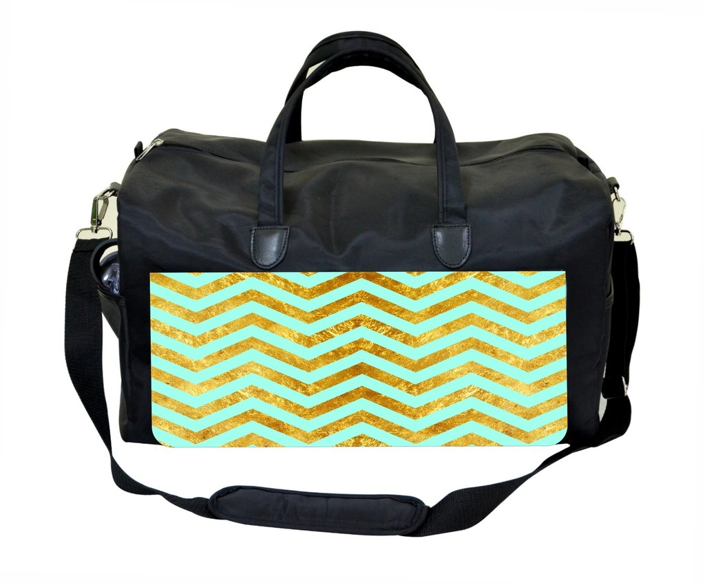 Gold Grunge Chevrons on Turquoise Weekender//Overnighter Bag