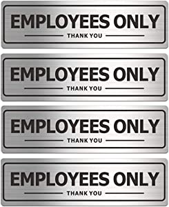 Employees Only Sign, Metal Self-Adhesive Signs for Business Door Wall, Aluminum Durable Signboard for Office Store Restroom (4 Pack, 7×2 inches)