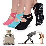 Meias de ioga femininas antiderrapantes com aderência e tiras, ideais para pilates, barra pura, balé, dança, treino descalço