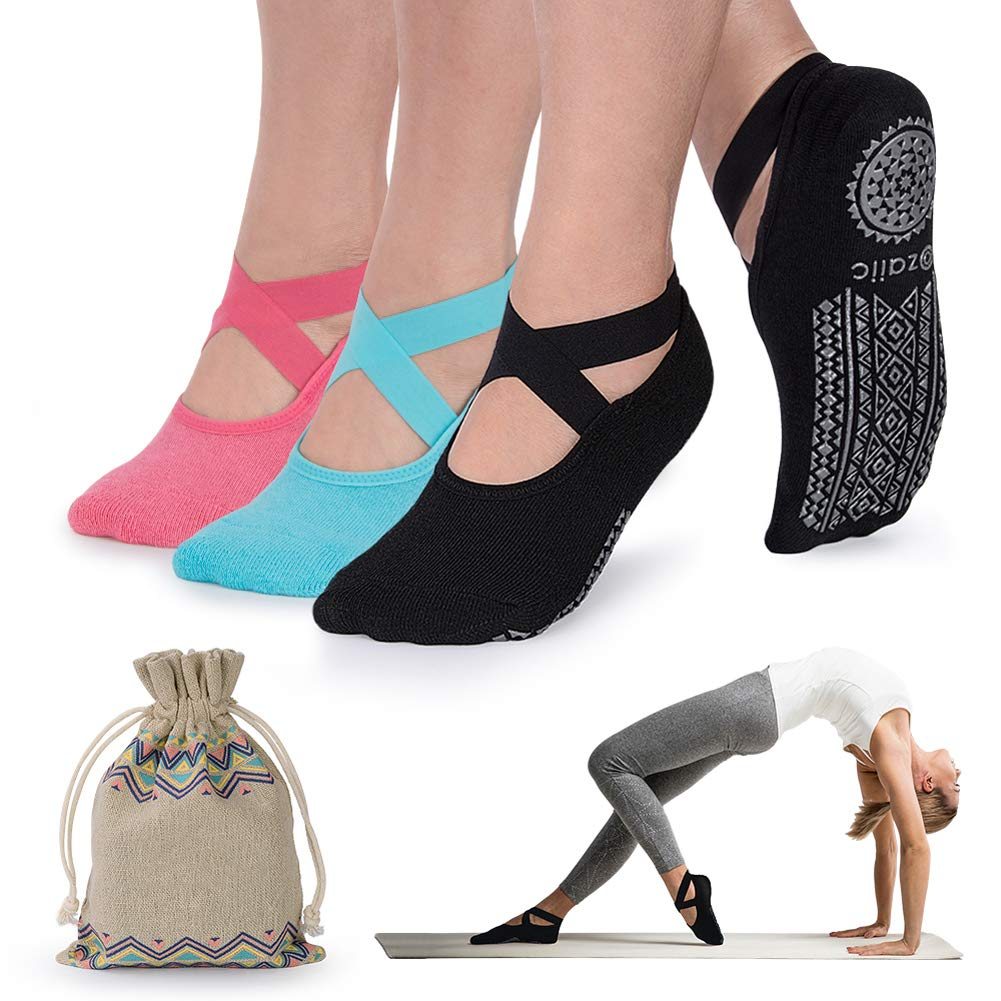 Yoga Socks for Women Non-Slip Grips & Straps, Ideal for Pilates, Pure Barre, Ballet, Dance, Barefoot Workout by Ozaiic